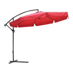 International Concepts - 10 ft. Offset Market Umbrella w Steel Pole - 48 mm. Steel pole with crank. 8 Pcs. 12 mm. x 18 mm. steel ribs. Adjustable tilt function. Powder coating. Air vent on top. 180G Polyester fabric. 120 in. L x 120 in. W x 100 in. H (30.8 lbs.)