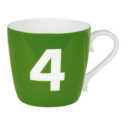 Konitz - Colors Number Mug, Green - What's your number? Flaunt it on an attractive bone china coffee mug, and you'll get those good luck vibes going with every sip.