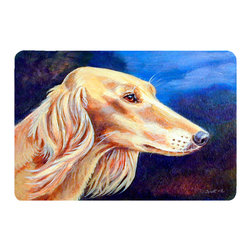 Caroline's Treasures - Saluki Kitchen Or Bath Mat 24X36 - Kitchen or Bath COMFORT FLOOR MAT This mat is 24 inch by 36 inch.  Comfort Mat / Carpet / Rug that is Made and Printed in the USA. A foam cushion is attached to the bottom of the mat for comfort when standing. The mat has been permenantly dyed for moderate traffic. Durable and fade resistant. The back of the mat is rubber backed to keep the mat from slipping on a smooth floor. Use pressure and water from garden hose or power washer to clean the mat.  Vacuuming only with the hard wood floor setting, as to not pull up the knap of the felt.   Avoid soap or cleaner that produces suds when cleaning.  It will be difficult to get the suds out of the mat.