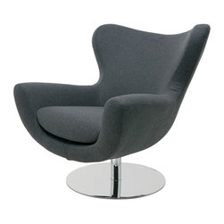 """Nuevo Living - Conner Lounge Chair in Dark Grey Wool Upholstery by Nuevo - HGDJ755 - The Conner Lounge Chair in Dark Grey Wool Upholstery by Nuevo features dark grey wool, CFS foam cushions, and a high polish stainless steel frame. Seat height: 18.5"""". Seat depth: 21""""."""