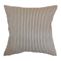 """The Pillow Collection - Daxiam Stripes Pillow Brown White 18"""" x 18"""" - This homely throw pillow is a great addition to your space. This square pillow brings a contemporary twist to your sofa, bed or other furniture. This suits a variety of decor style including contemporary, modern and more. This 18"""" pillow features brown and white vertical stripes. This down-filled pillow is made from 100% plush cotton fabric. Hidden zipper closure for easy cover removal.  Knife edge finish on all four sides.  Reversible pillow with the same fabric on the back side.  Spot cleaning suggested."""