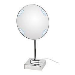 "WS Bath Collections - Discololed Free Standing Magnifying Cosmetic Mirror with Lighting - Features: -Mirror Pure collection. -Free standing magnifying cosmetic mirror. -Free standing. -External power supply with plug. -Features LED lighting. -Chromed plated brass structure and chromed plated abs frame. -Distortion free. -Made in Italy. Specifications: -Manufacture provides one year warranty. -9.1"" Dia. x 16.2"" ."