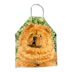 Caroline's Treasures - Chow Chow Apron SS8709APRON - Apron, Bib Style, 27 in H x 31 in W; 100 percent  Ultra Spun Poly, White, braided nylon tie straps, sewn cloth neckband. These bib style aprons are not just for cooking - they are also great for cleaning, gardening, art projects, and other activities, too!