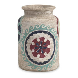 iMax - iMax Nevis Small Handpainted Vase X-50281 - Navajo inspired patterns decorate this earthy, white washed vase. Great as a stand alone piece or with a simple dried natural filler, this vase adds richness and authenticity to your decor.