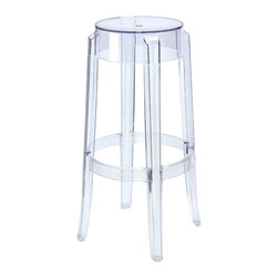 IMPORT LIGHTING & FUNITURE - Charles Ghost Stool - The Ghost Stool is made of transparent polycarbonate and is formed in a single injection mold. Transparent stools with the slightly curved, rounded leg, and a strong design appeal. Comfortable, robust, and weather resistant.