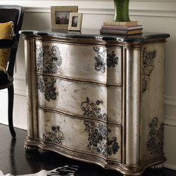 """Selma"" Chest  - Hand-stenciled floral designs and reeded bun feet make the ""Selma"" Chest an unforgettable piece.  Perfect for an entry or living room, its detailed design will charm.    * Blackstone laminate top with aluminum inlay.    * 36""W x 14""D x 31""T."