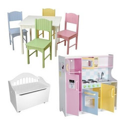 KidKraft Play Kitchen Playroom Set - Your kids will love this complete playroom in one package. The KidKraft Play Kitchen Playroom Set includes a very stylish play kitchen and table and chair set in pastel colors and a versatile white toy box. About the KidKraft Deluxe Pastel Play KitchenThe Pastel Play Kitchen lets your kids have fun while they become acquainted with a typical kitchen. Children love to imitate their parents and this kitchen playset lets them do that safely. Parents and kids both will appreciate the elaborate details of this cute play kitchen. A pretend water and ice dispenser on the fridge a grocery list movable clock phone and microwave are some favorite details. The opening doors also provide realistic fun and the oven range with knobs and handles gives this play set life-like authenticity. About the KidKraft Nantucket Pastel Table and Chair SetThis Nantucket Pastel table and Chair set is great for board games tea parties and much more. The cool white finish of the Nantucket Table is perfectly complemented by the soft pastel colored chairs. Each sturdy chair has a Nantucket-style plank back and a wide comfortable seat. Made of durable wood and finished with non-toxic colors. About the KidKraft Limited Edition Toy BoxOffering comfortable style and handy storage the Limited Edition Toy Chest has a large generous space for organizing toys games and books. The flip-top lid has a secure safety hinge to protect kids' fingers from getting pinched. Plus with a gracefully arched back the Limited Edition Toy Chest is sturdy enough to double as a bench for extra seating. This versatile toy chest bench is crafted from durable Asian hardwood. Four casters are included to provide easy mobility. The use of the casters is optional. They can be left off for added stability. This toy chest meets all CPSC (Consumer Product Safety Commission) product tests for safety. About KidKraftKidKraft is a leading creator manufacturer and distributor of children's furniture toy gift and room accessory items. KidKraft's headquarters in Dallas Texas serves as the nerve center for the company's design operations and distribution networks. With the company mission emphasizing quality design dependability and competitive pricing KidKraft has consistently experienced double-digit growth. It's a name parents can trust for high-quality safe innovative children's toys and furniture.
