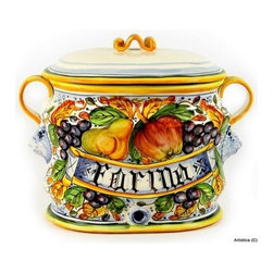 Artistica - Hand Made in Italy - Frutta: Large Oval Canister Farina (Flour) - Frutta Collection: