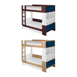 Contemporary Bunk Bed By Nurseryworks - Style meets logic in the playful design of this customizable bed set that offers so much more than space saving beds. You will also get ample storage for you linens,books and bedroom essentials with two cabinets on one end,three drawers beneath the bottom bed,and six cubbies that can also be used on its own when the beds are not stacked. Knowing all Nurseryworks products pass the highest safety standards of the industry,your family can sleep worry free. And with solid construction consisting of high quality timber and hardware,the Duet bed ensures many years of reliable use. Unleash your creative side by mixing frame finishes and cabinet colors to suite your decor or make a bold statement. For a third sleeping space,simply add a trundle with mattress.