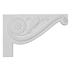 "Ekena Millwork - 11""W x 7""H x 5/8""D Large Pearl Stair Bracket, Right - With the beauty of original and historical styles, decorative stair brackets add the finishing touch to stair systems.  Manufactured from a high density urethane foam, they hold the same type of density and detail as traditional plaster stair bracket products.  They come factory primed and can be easily installed using standard finishing nails and/or polyurethane construction adhesive."