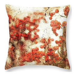 """Suzanne Powers - Berry Nice Pillow - Photography of Christmas red berries with a white background and a sepia texture.  Throw pillows are made from 100% polyester fabric.   Dimensions 18"""" X 18.""""  Each pillow is printed on both sides (same image). Spot clean.  Price includes shipping."""