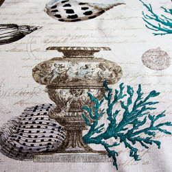 Seashell coral fabric antique documentary toile blue - A seashell coral fabric with antique urns and coins from a shipwreck or Atlantis. This has to be one of the most unique ocean fabrics there is! This is one of five inter-related fabrics. There is a coral fabric, a sea fan fabric, a seahorse and coral fabric, and a colored shell fabric. They also come in red.