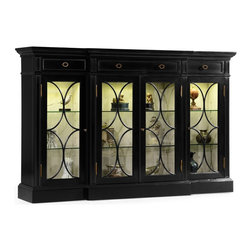 Jonathan Charles - Jonathan Charles Kensington Painted Formal Black China Cabinet - Black painted four door breakfront display cabinet with grey painted interior and LED Interiror lighting the glazed doors flanked. Three shallow drawers to the top with brass handles. Jonathan Charles Fine Furniture is the vision of Jonathan Sowter an English furniture designer who excels at the art of fine antique reproduction. Jonathan Charles designs and manufactures the highest-quality European antique replicas as well as their own unique transitional designs. What makes them different is their meticulous attention-to-detail and pursuit of high-quality construction. Their passion for detail is also reflected in their in-house brass foundry in which they manufacture their own hardware so that when they design a new piece of furniture they can also design one-of-a-kind pulls hinges locks and even keys for that piece. Jonathan Charles works with artisans who display a large range of skills. They take pride in their work which is evident in their beautifully-crafted antique replicas. They go far beyond just creating furniture that resembles English classics. They employ age-old techniques which breathe soul and lasting-quality into their products.  Many of their inspirations come from original antiques that Jonathan discovers in his travels. Sometimes they will reproduce them as accurately as possible while at other times they will take a detail that they like and design a completely new piece of furniture around that feature.  Oftentimes they will start the design process from scratch. They gather inspiration from a variety of sources – be it a classic wallpaper design nature classic antiques a rare object or jewelry.  They never design to the limitations of their factory and have actually expanded their factory as they have developed new skills in advanced marquetry bronze casting hand carving and much more.  They never compromise on design and would be foolish to compromise on qua