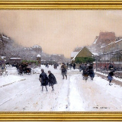 """Luigi Loir-16""""x24"""" Framed Canvas - 16"""" x 24"""" Luigi Loir Paris with Snow framed premium canvas print reproduced to meet museum quality standards. Our museum quality canvas prints are produced using high-precision print technology for a more accurate reproduction printed on high quality canvas with fade-resistant, archival inks. Our progressive business model allows us to offer works of art to you at the best wholesale pricing, significantly less than art gallery prices, affordable to all. This artwork is hand stretched onto wooden stretcher bars, then mounted into our 3"""" wide gold finish frame with black panel by one of our expert framers. Our framed canvas print comes with hardware, ready to hang on your wall.  We present a comprehensive collection of exceptional canvas art reproductions by Luigi Loir."""