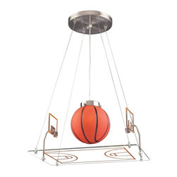 Elk Lighting - Elk Lighting-5099/1-Novelty - One Light Basketball Court Pendant - Fun for all ages!  These whimsical lighting fixtures will put a smile on you or your child's face with a myriad of shapes and themes meant to stir the imagination and create a lighthearted environment.