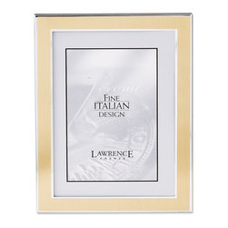 Lawrence Frames - Silver and Gold 8x10 Metal Picture Frame - Contemporary silver metal picture frame with brushed satin gold metal front.  Beautiful black velvet backing with an easel for vertical or horizontal table top display.    High quality 8x10 metal picture frame is made with exceptional workmanship and comes individually boxed.