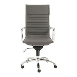 Euro Style - Dirk High Back Office Chair - Gray/Chrome - High or low. Armrests or not, the Dirk design is very popular for all the right reasons. The front of the seat and the top of the back are one-piece sections for a finished look. The inner seat and lower back are flat bungee bands which offer outstanding comfort that is famous everywhere in the known world.