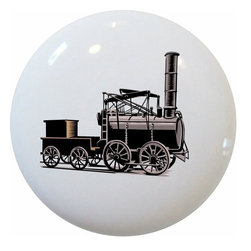 Carolina Hardware and Decor, LLC - Vintage Train Ceramic Cabinet Drawer Knob - New 1 1/2 inch ceramic cabinet, drawer, or furniture knob with mounting hardware included. Also works great in a bathroom or on bi-fold closet doors (may require longer screws). Item can be wiped clean with a soft damp cloth. Great addition and nice finishing touch to any room!