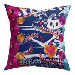 KOKO - Fiesta Pillow, Day of the Dead - The imagery on this pillow is so celebratory as it clearly honors the living and the dead. You will love the bold embroidered flowers layered over the skeleton, as it conjures up the best of Mexican culture.