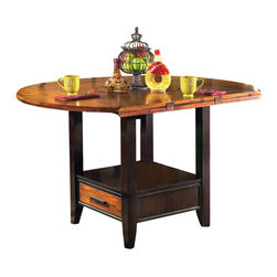 Steve Silver Company - Steve Silver Company Abaco Drop Leaf Counter Height Storage Dining Table - Steve Silver Company - Dining Tables - AB200PTXKIT - Let the Abaco Drop Leaf Counter Height Storage table take center stage at your next dinner party or gathering. The dining table includes tapered legs and a very unique finished top. The Abaco collection is made of great craftsmanship so that you will enjoy this collection for years to come.