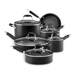 Anolon - Anolon Advanced Hard Anodized Nonstick 11 Piece Cookware Set - The Anolon 11 Piece Advanced Hard Anodized Nonstick Cookware Set is packed with features pretested by professionals and loved by home cooks. Combining great value with premium construction, each piece features DuPont's Autograph 2 surfacing inside and out for extreme hardiness that can even withstand use with metal utensils. This multilayer application adheres firmly to electrochemically treated heavy-gauge aluminum while food releases cleanly. Set includes: 1.5 quart saucepan w/lid, 3 quart saucepan w/lid, 8 quart stockpot w/lid, 3 quart saute pan w/lid, 12 inch deep skillet w/lid, 8.5 inch French skillet