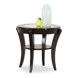 Klaussner Furniture - Purelife Bryant Dark Merlot Finish End Table - This Bryant end table is the best way to update the look of your home decor in rich elegance. A lower shelf offers convenient storage for decor or everyday items,and a tempered glass insert graces the table top.