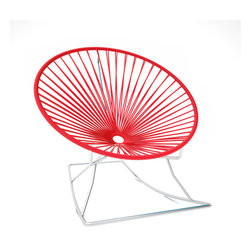 Innit Rocker, Chrome Frame With Red Weave - Sleek chrome and vinyl come together seamlessly to form this comfy rocking chair made for indoor or outdoor use. The hoop shape creates a supportive place to rest, and the chrome base keeps you rocking for added relaxation. It's available in multiple colors to match your every decor need or whim.