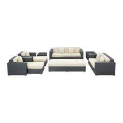 LexMod - Eclipse Outdoor Wicker Patio 9 Piece Sofa Set in Espresso with White Cushions - Achieve cosmic aptitude with this empirically abundant outdoor living set. Discover more than the eye can see with Eclipse's radiant white all-weather cushions and espresso rattan base. Leave an impression on your surrounding and contemplate the incredible as you triumph on the pathway to new perspectives.