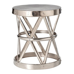 Kathy Kuo Home - Costello Polished Nickel Hammered Metal Open Accent Table- Large - Evoking the classic form of a drum, yet crafted in a sleek nickel finish, this coffee table elevates a rustic classic to new heights.  Definitely modern and certainly bold, this piece would be particularly noteworthy in industrial and vintage influenced spaces.