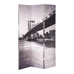 "ACMACM98017 - Trudy II 3 Panel Canvas Bridge Style Room Divider Shoji Screen - Trudy ii 3 panel canvas Bridge style room divider shoji screen. Each panel measures (16"" x 71"") 3 panels total."