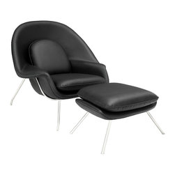 IFN Modern - Womb Style Chair & Ottoman - Eero Saarinen, Finnish Modern Furniture Designer, is the brain behind the Womb chair- originally known as the Wombat Chair- in 1948. He was a strong believer that the entire field of design is a unified body. He heralded three design principles which included: functionality, structure, and representative of the time. Little did Saarinen know, the Womb Chair would end up  transcending time. This chair features a molded fiberglass shell which is covered with foam and followed by upholstery. Both the chair and ottoman are supported by a bent tubular frame. In an effort to maximize comfort, the chair was designed with loose cushions as well as a coordinated ottoman. Eero's Womb Chair's organic form accurately aligns with mid century Scandinavian modernism style of furniture which valued synthetic materials to create unique forms. The name of the Womb Chair captures the feeling that this chair is meant to evoke- the sitter of this chair will find him or herself curling up and relaxing in comfort.