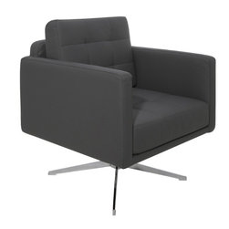 Nuevo Living - Maxwell Lounge Chair, Gray - Maxwell Lounge Chair offers classic modern design with harmonious proportions that delivers great comfort in any sitting position. Offering deep comfort, the Maxwell Lounge Chair tenders a soft, comfortable seat of thick CFS foam cushioning wrapped in luxurious Naugahyde upholstery. Its wide body is supported by a steel swivel base expertly finished in chrome. Maxwell Lounge Chair will suit a variety of spaces - from a modern workspace to the family living room.
