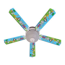 Ceiling Fan Designers - Ceiling Fan Designers Jungle Party Animals Indoor Ceiling Fan - 42FAN-IMA-JPA - Shop for Ceiling Fans and Components from Hayneedle.com! Boy or girl any kid would love this Ceiling Fan Designers Jungle Party Animals Indoor Ceiling Fan. With its cartoon animals and bright colors this ceiling fan and light kit combo will cool down and light up their room in style. It comes in your choice of size: 42-inch with 4 blades or 52-inch with 5. The blades are reversible so when they outgrow the colorful cartoon design simply flip to simple white blades. Easy! It has a powerful yet quiet 120-volt 3-speed motor with easy switch for year-round comfort. The 42-inch fan includes a schoolhouse-style white glass shade and requires one 60-watt candelabra bulb (not included). The 52-inch fan has three alabaster glass shades and requires three 60-watt candelabra bulbs (included). Your ceiling fan includes a 15- to 30-year manufacturer's warranty (based on size). Ideal in any kid's bedroom or day care center.
