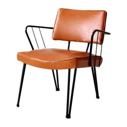 """Pre-owned 1950s Douglas Eaton Hairpin Leg Chair - A 1950s Douglas Eaton modern chair by Douglas Eaton Chair Company (Eames contemporary). The chair has a black metal frame with faux leather upholstery in a burnt umber tone. It is in good condition with wear consistent with age and use. There is gentle wear and patina to the tone of the metal (particularly on the arms), and a small black mark on the top of the seat back.     14 - 16.5"""" seat height (bottom of upholstered seat to top of seat)"""