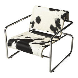 Butler Specialty - Butler Soho Hair-On-Hide Accent Chair - This hip, urban accent chair will give your space the modern flair you seek. Featuring hair-on-hide sling-back upholstery over a stainless steel frame, it is sure to attract attention while offering a comfortable seat in a home or office setting.