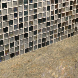 "Hood Canal Waterfront Kitchen Remodel - Glistening bottle glass mosaic tile in soothing sea mixture of colors on the back splash really complements the shimmering water view during the daytime.  Tile is from Crossville Tile ""Origins Glass"" in Water Blend, 1x1 tile mosaic."