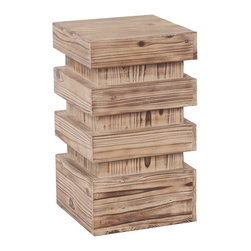 Howard Elliott - Stepped Natural Wood Pedestal - This pedestal features a stepped design of natural wood with defined grain.