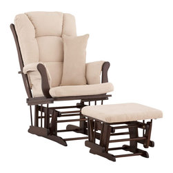 Stork Craft - Stork Craft Tuscany Glider and Ottoman with Free Lumbar Pillow in Espresso with - Stork Craft - Rocking Chairs Rockers - 06554519 - Available in 6 wood finishes and 4 fabric combinations to create your own custom Tuscany Glider and Ottoman. The Stork Craft Tuscany Glider and Ottoman set offers gentle motion while feeding your baby in those early morning hours. Featuring a solid construction with a magical sleigh design this is a royal centerpiece for your nursery. The enclosed metal ball-bearings allow for an incredibly smooth motion to glide your baby back to sleep. Micro fiber spot-cleanable cushions ease the worry about spills while the construction offers an exquisite finish you'll appreciate far beyond the baby years. The Tuscany Glider comes with a matching soft plush lumbar support pillow for supporting your baby during feeding times.