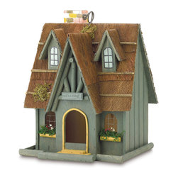 KOOLEKOO - Thatched Cottage Birdhouse - Clever beam-style trim, welcome sign, and thatched roof bless this birdhouse with fairy-tale charm!