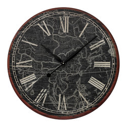Map Of The World Printed Clock - *Dimensions: 2L x 24W x 24H