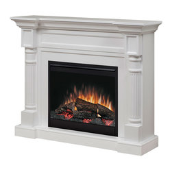 """Dimplex - Dimplex Winston White Electric Fireplace Mantel Package - DFP26-1109W - The Dimplex Winston White Electric Fireplace Mantel Package - DFP26-1109W includes a simple, elegant mantel enhanced by fluted pilasters and carved detailing, a 26"""" electric firebox with life-like patented flame technology which creates the look of a wood fire, and an on/off remote control for convenient control. The electric firebox provides quiet, instant fan-forced, supplemental heat for up to 400 sq. ft. The front glass of the Winston electric fireplace remains cool to the touch, making it safe for children. This mantel package is great for bedrooms, living rooms, and office basements. Simply plug it into a standard household electrical (120V) outlet."""