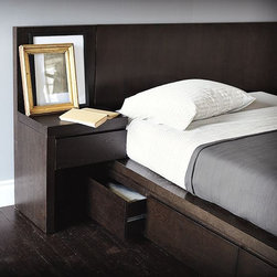 Storage Bed Nightstand - Left and right nightstands, each with a spacious drawer, attach directly to the coordinating headboard. When you are facing the bed, the Left Storage Nightstand will be on your left, and the Right Storage Nightstand will be on your right.