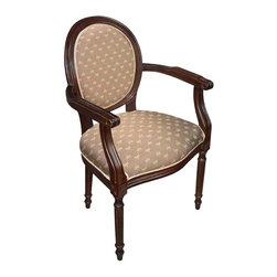 123 Creations - Dragonfly Upholstered Wooden Armchair. Wood stain finish. - This hand-crafted Louis 16 armchair accents your rooms and provides beautiful extra seating.
