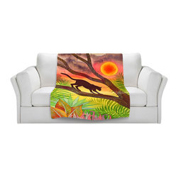 DiaNoche Designs - Fleece Throw Blanket by Jennifer Baird - Ocelot at Sunset - Original Artwork printed to an ultra soft fleece Blanket for a unique look and feel of your living room couch or bedroom space.  DiaNoche Designs uses images from artists all over the world to create Illuminated art, Canvas Art, Sheets, Pillows, Duvets, Blankets and many other items that you can print to.  Every purchase supports an artist!