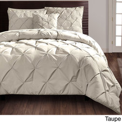 None - Carmen 4-piece Comforter Set - Beautify your bedroom with this sophisticated four-piece comforter set. A puckered diamond design embellishes this contemporary set for your king or queen-size bed. Available in grey,white,and taupe,this set will easily match your current decor.
