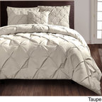 None - Carmen 4-piece Comforter Set - Beautify your bedroom with this sophisticated four-piece comforter set. A puckered diamond design embellishes this contemporary set for your king or queen-size bed. Available in grey, white, and taupe, this set will easily match your current decor.