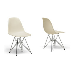 Baxton Studio - Baxton Studio Beige Plastic Side Chair-Set of 2 - Many uses ?C in the home, office, caf??, reception area, or training room. Clean, simple form sculpted to fit the body. Shells are recyclable polypropylene. Wire base are made from chromed steel. This chairs features in beige color option.