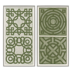 Soicher-Marin - Green Garden Plan Details, Set of 2 - Giclee Print with a silver with grey highlights wood frame with an off-white linen liner.  Includes glass, eyes and wire. Made in the USA. Wipe down with damp cloth