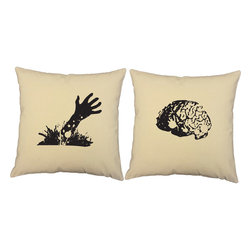 Store51 LLC - Zombie Hand Brain Pillow Covers 16in Natural Halloween Shams - FEATURES: