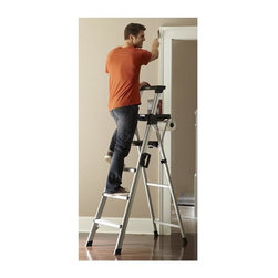 Cosco Office - 69.12 in. Lightweight Step Ladder - Patented aluminum boxed frame. Easy to use. Easily folds with the one-hand lock or release latch. Convenient and project tray include slot for tool, paint and other project material. Paper towel holder. Comfort hand grips for an easy climb. Large non-marring, skid resistant, stabilizing feet protect floor surface. Large platform step with slip-resistant tread design. Convenient carrying handle with security lock. Easy to carry. Carrying handle with security lock. Meets ANSI type 1A extra heavy duty industrial work load of 300 lb rating. Warranty: One year. Aluminum and black color. 21.25 in. W x 40 in. D x 69.12 in. H (17.94 lbs.)